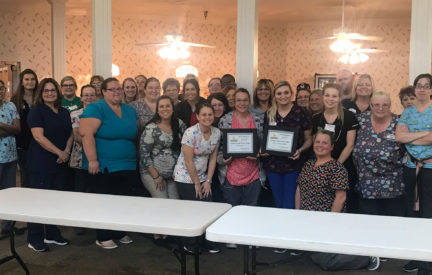"Country Club Care Center Employees Display Their 2019 ""Best Of The Burg"" Awards."